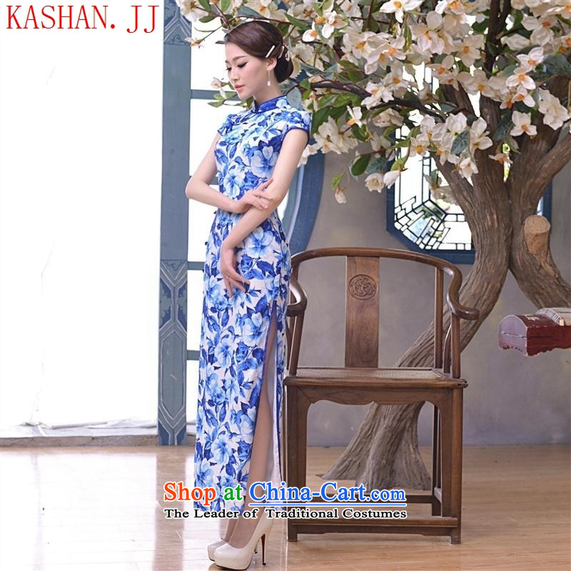 Mano-hwan's 2015 new long Silk Cheongsam porcelain cheongsam dress qipao long skirt picture color XXL