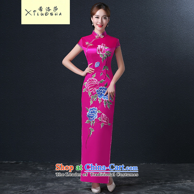 Hillo XILUOSHA Lisa _qipao embroidery brides who married a drink service wedding dresses Chinese qipao autumn ritual、Qipao Length of 2015 New better red?XL