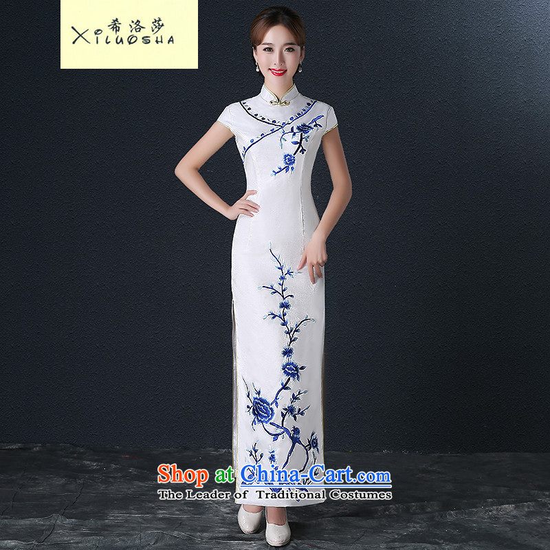 Hillo XILUOSHA Lisa _new_ porcelain cheongsam dress long marriage Sau San qipao bride services 2015 Autumn bows wedding dress white燣