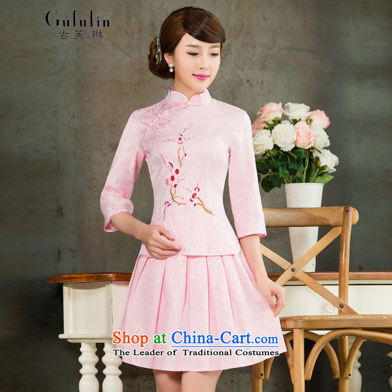 Ancient Evelyn, 2015 Spring/Summer female new daily long-sleeved Stylish retro qipao kit two dresses pink 1125B L