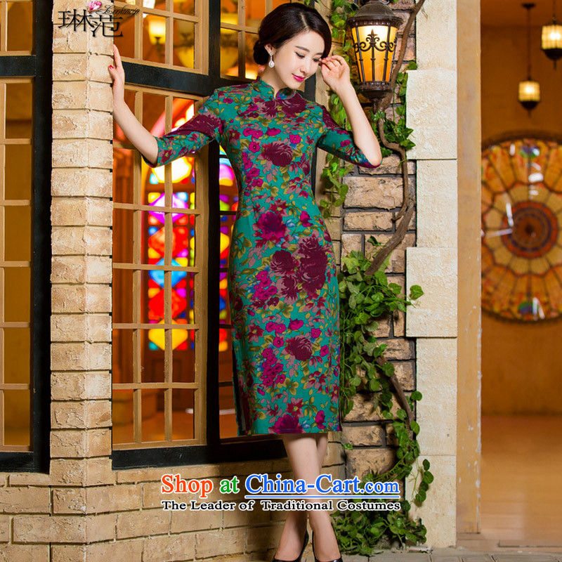 � The summer and autumn of 2015, Mrs Lam, Sau San video thin short retro. Large cuff improved linen long skirt 9007 green de qipao�M