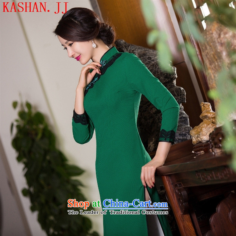 Mano-hwan's traditional qipao?2015 new antique dresses manually take charge of pure colors simple green/picture color qipao?S