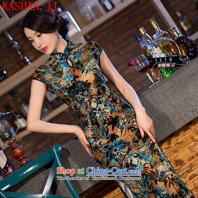 Mano-hwan, the summer and fall of 2015 New retro cheongsam long skirt dress cheongsam dress photo color燤 Suzhou