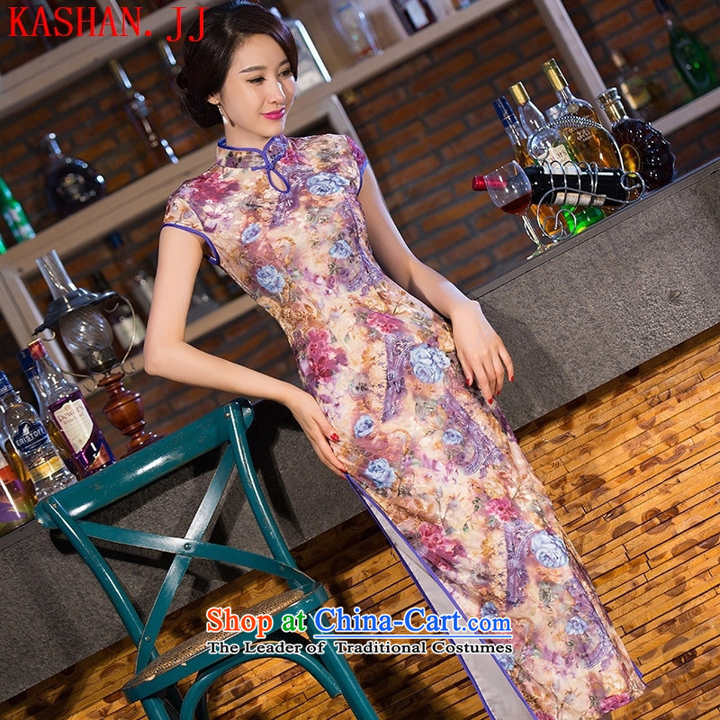 Mano-hwan's traditional qipao 2015 new velvet bridesmaid dress classic long qipao/picture color�XL
