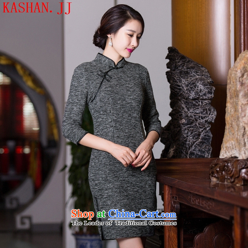 Mano-hwan's new 2015 qipao thick autumn and winter retro pure colors in light gray cuff traditional Sau San Mao? female picture color?M
