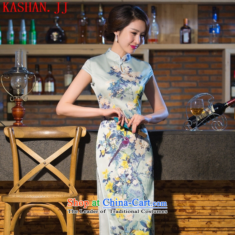 Mano-hwan's 2015 new stamp dresses in summer and autumn cheongsam dress retro-tie silk cheongsam dress up garment picture color?XL
