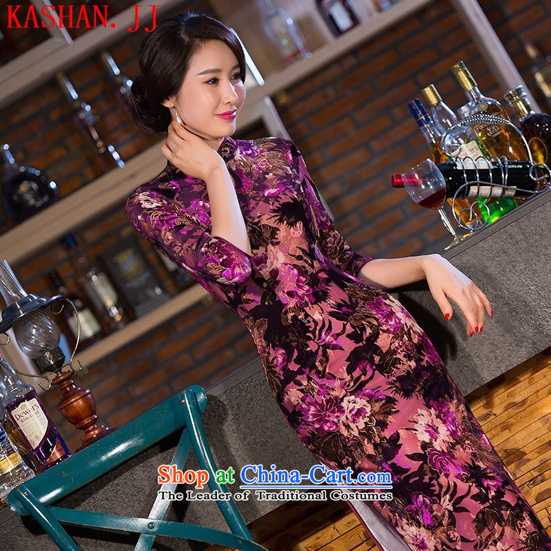 Mano-hwan's new 2015 cheongsam silk dresses soft and beautiful arts Sau San long qipao/picture color?XXL