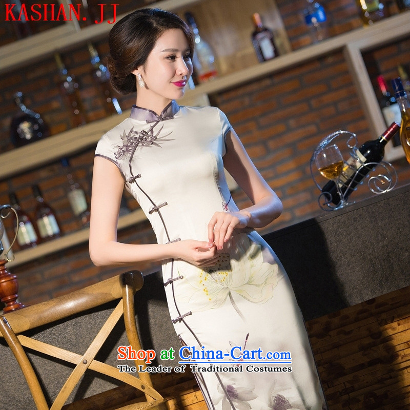 Mano-hwan's 2015 Spring/Summer Load New Silk Cheongsam retro long silk dresses dress clothes picture color?XL