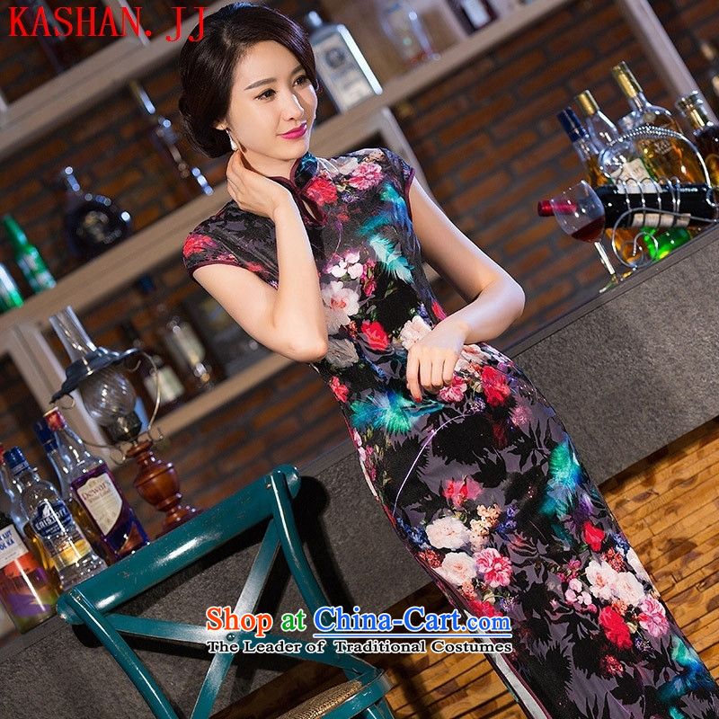 Mano-hwan's new 2015 cheongsam silk dresses of the Republic of Korea Arts Classic and traditional long qipao_picture color燬