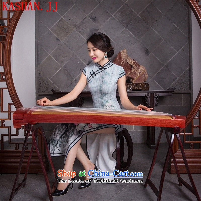 Mano-hwan's new 2015 cheongsam Silk Dresses Tang dynasty literary tradition of republic of korea long qipao/picture color M