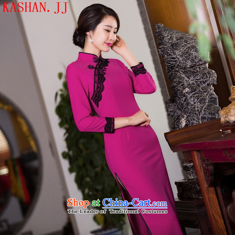 Mano-hwan's traditional qipao?2015 new antique dresses manually take charge of pure colors simple green/picture color qipao?XXL