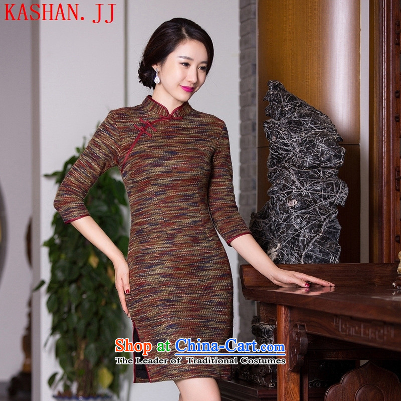 Mano-hwan's gross??2015 new qipao autumn and winter retro Sau San Tong boxed in classic cuff thickened daily cheongsam picture color?M