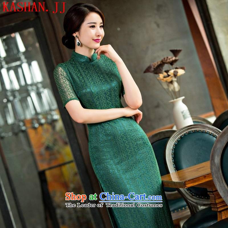 Mano-hwan, lace qipao new summer and fall of 2015 engraving dresses bridesmaid dress improved qipao/picture color?XL