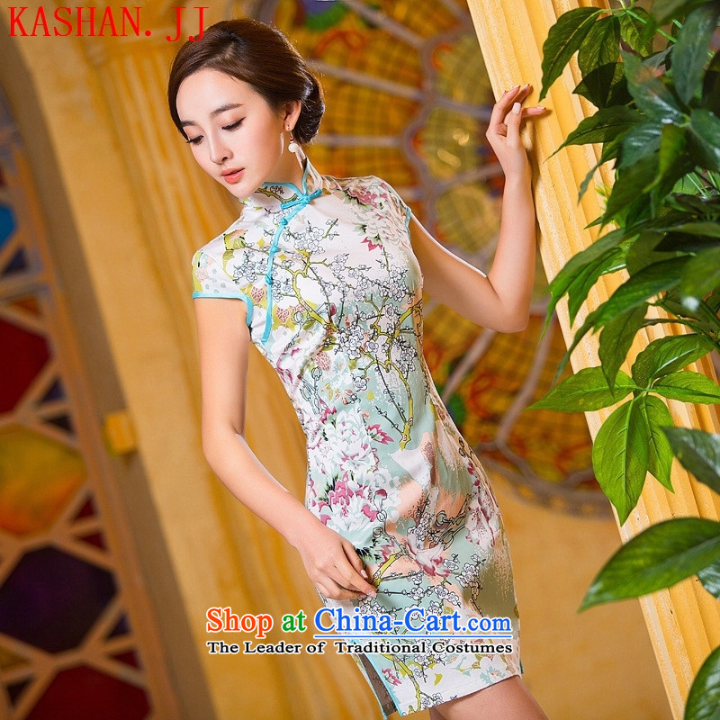 Mano-hwan's 2015 Spring_Summer new western retro qipao show mahogany Silk Cheongsam daily sexy dresses picture color?L