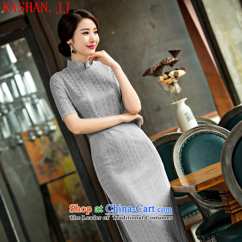 Mano-hwan, lace qipao new summer and fall of 2015 Skirt bridal dresses improved short qipao load/picture color?S