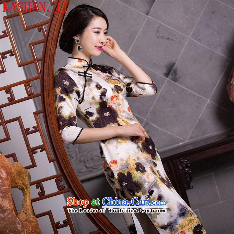 Mano-hwan's new 2015 cheongsam silk dresses retro Tang dynasty ink traditional long qipao/picture color?XL
