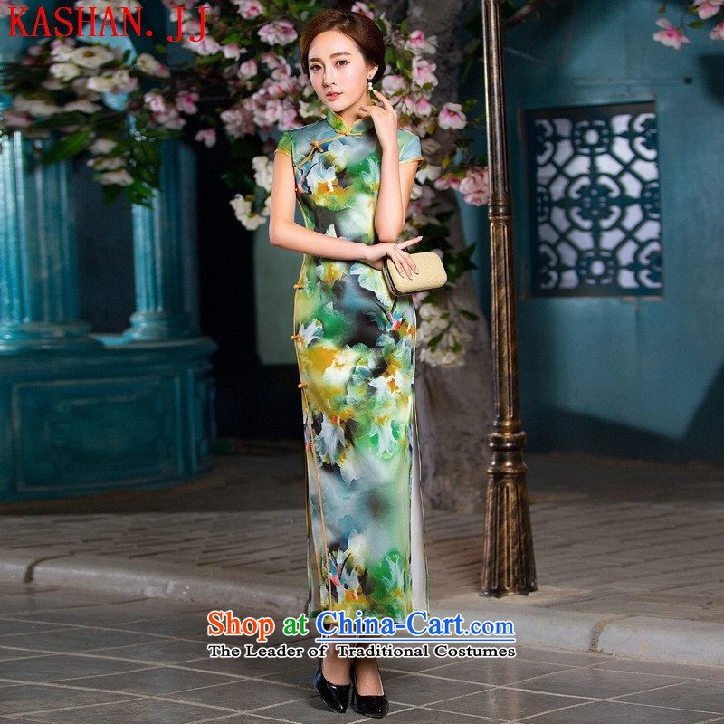 Mano-hwan's Summer 2015 new long retro graphics thin cheongsam dress uniform color pictures show燬