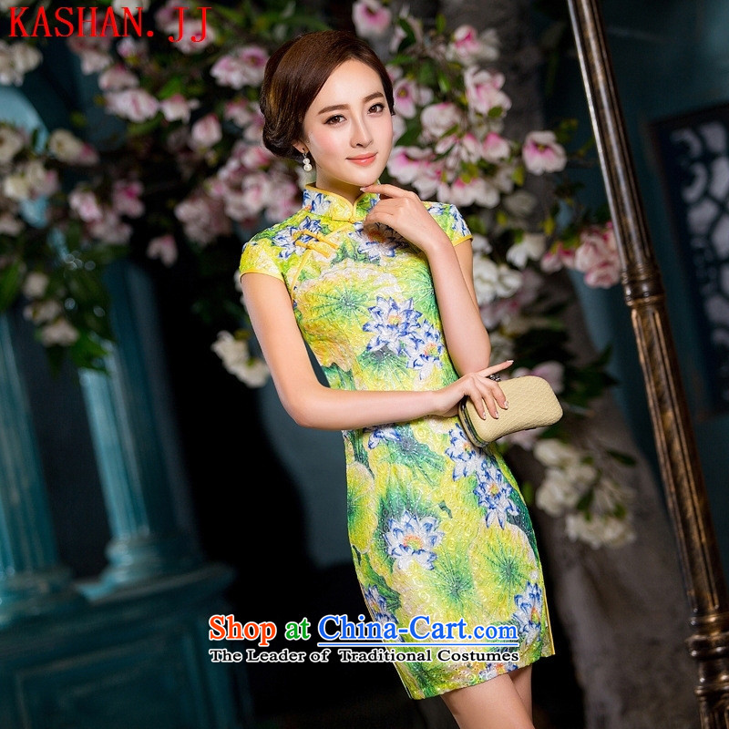 Mano-hwan's new composite lace improved Stylish retro cheongsam dress uniform color pictures show dresses燣