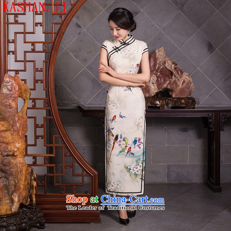 Mano-hwan's traditional qipao爊ew summer and fall of 2015 Silk Dresses manually take charge of Qipao_picture color燲XL