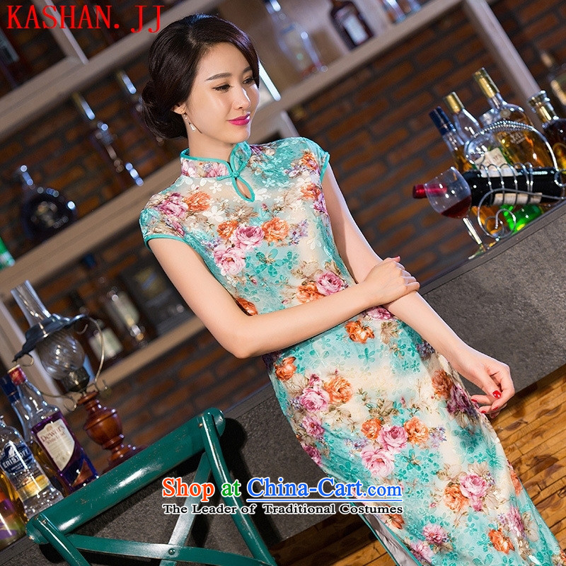 Mano-hwan's new long qipao retro-cashmere banquet dresses Silk Cheongsam Qipao_ picture color daily燲XL