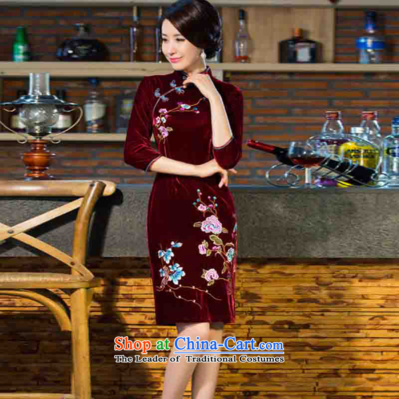 In accordance with the premier 2015 autumn and winter new moms with scouring pads in the skirt qipao Kim sleeve length_ Improved retro wedding wine red聽XL