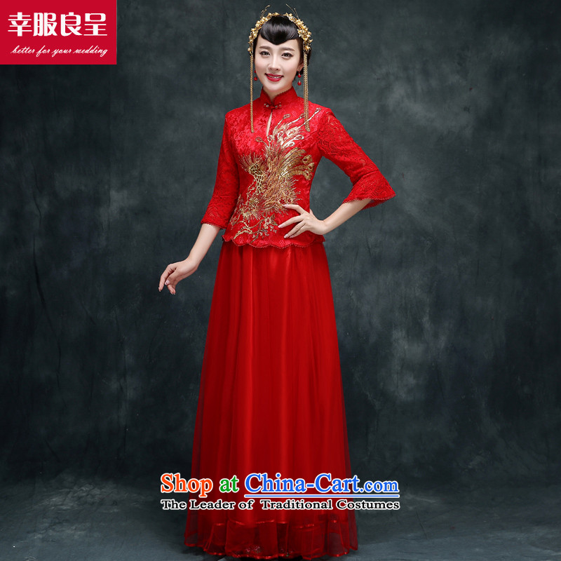 Red Chinese qipao bride wedding dress 2015 new autumn and winter retro improved long drink service stylish 7 cuff qipao�L