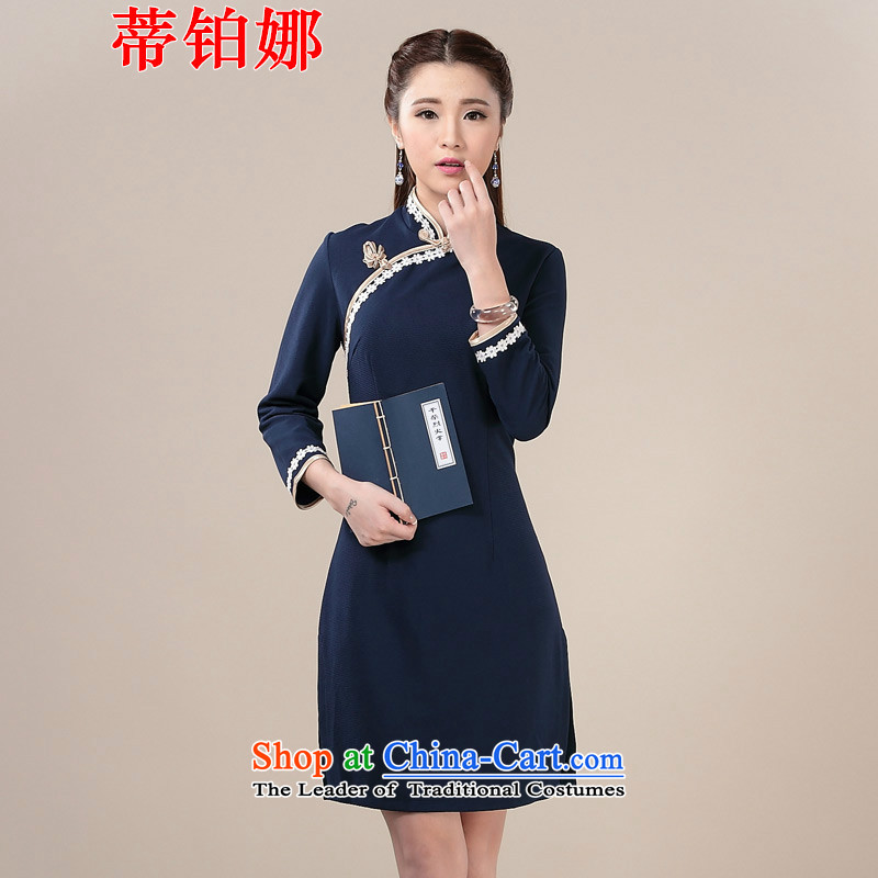 Opertti the?2015 autumn and winter Platinum New Daily knitting sweet arts cheongsam dress ethnic antique dresses blue qipao?L