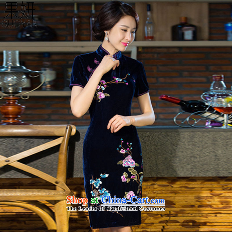 Charlene Choi 2015 Autumn fruit dresses wedding gold velour retro dresses cheongsam dress improved skirt L7259 Black燲L