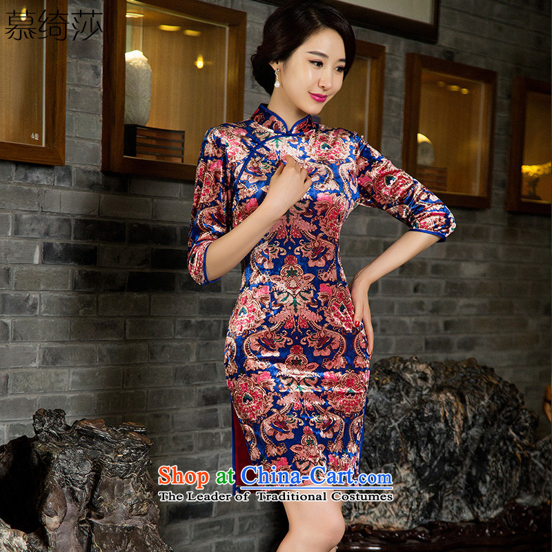 The cheer her fine of�to 2015 Autumn replace cuff scouring pads qipao retro style qipao skirt the new improved in older cheongsam dress燭85032爌icture color燣