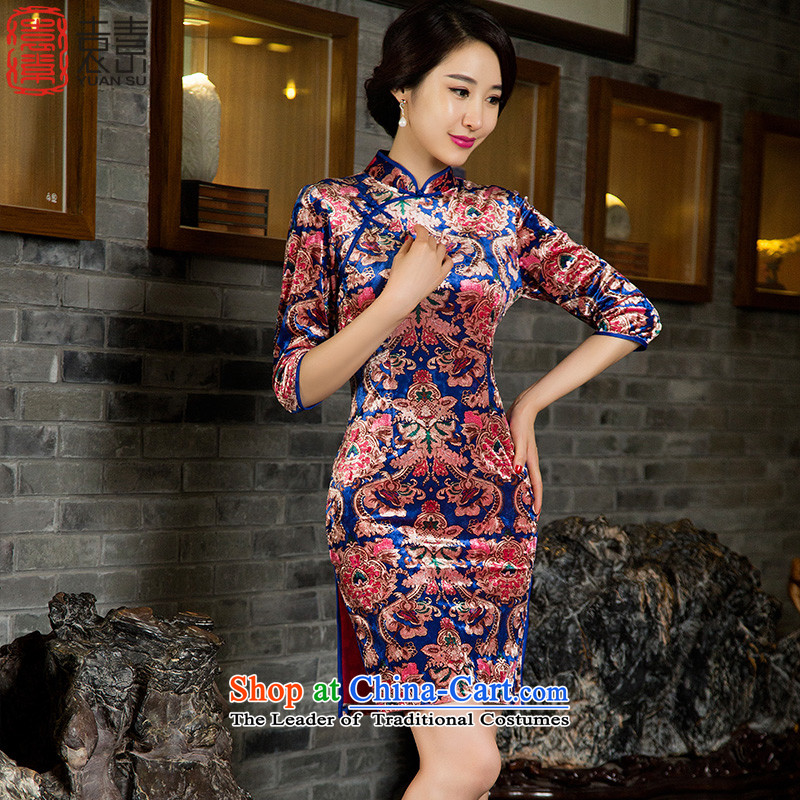 ?Ms. Yuen of Hsiukuluan 2015 Autumn replacing retro scouring pads qipao qipao gown of older ethnic cheongsam dress?M85032 new?picture color?M