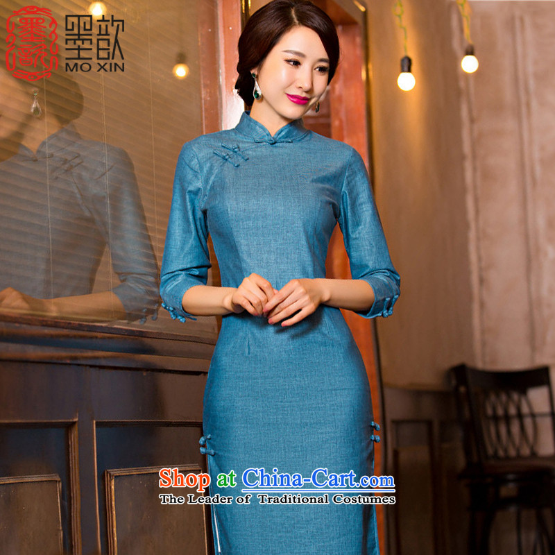 The ink from the incense ?�15 new cheongsam dress in long retro improved cheongsam with 7 cuff autumn cheongsam dress linen T110079 ink blue燣