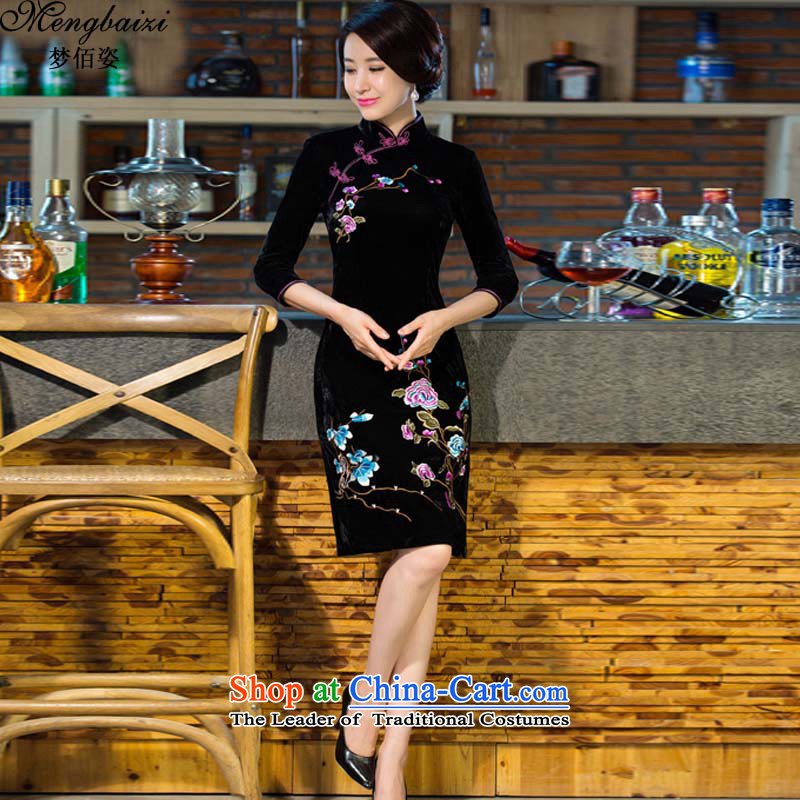 Gigi Lai Bai 2015 autumn dreams of new large long-sleeved long embroidery retro Kim Tang dynasty mother velvet cheongsam QP508# black�XXL