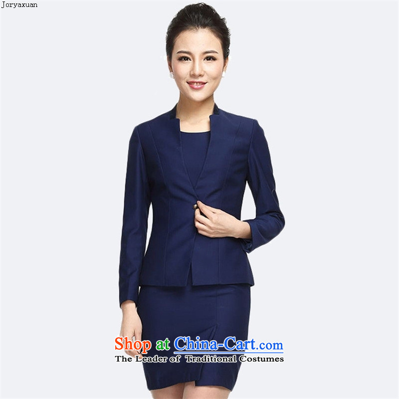 Web soft clothes for autumn and winter 2015 New Product Version Korea attire, long-sleeved jacket minimalist wild jacket blue jacket + dresses燲L