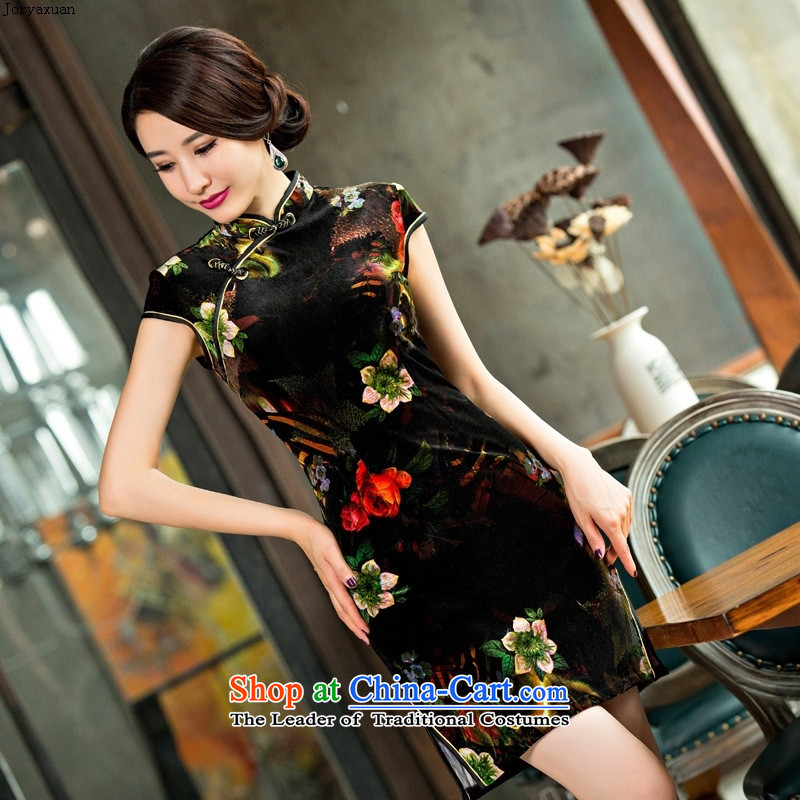 Web soft clothes 2015 new autumn and winter large retro in style qipao older mother velvet cheongsam dress photo color�M