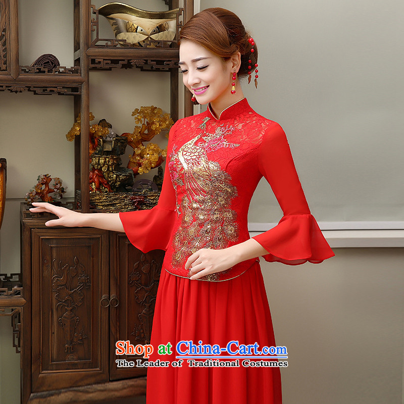 2015 new bride qipao gown married summer bows services red collar embroidery short of Chinese Dress Red�L