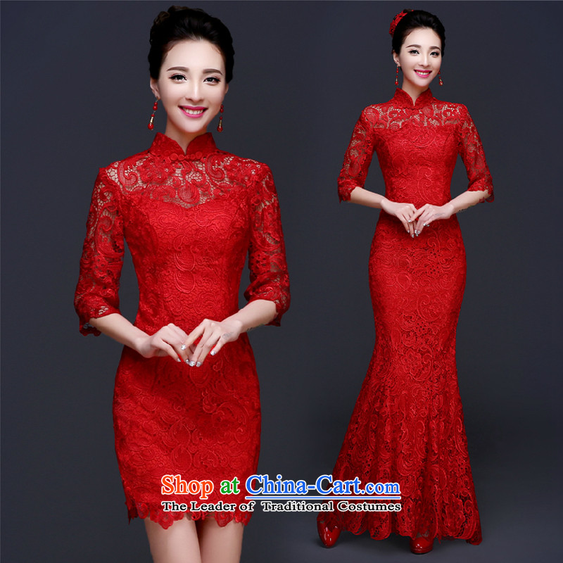 Marriages qipao bows to the spring and summer of 2015, the new Chinese Antique wedding crowsfoot red dress length of Qipao long sleeves 7�S