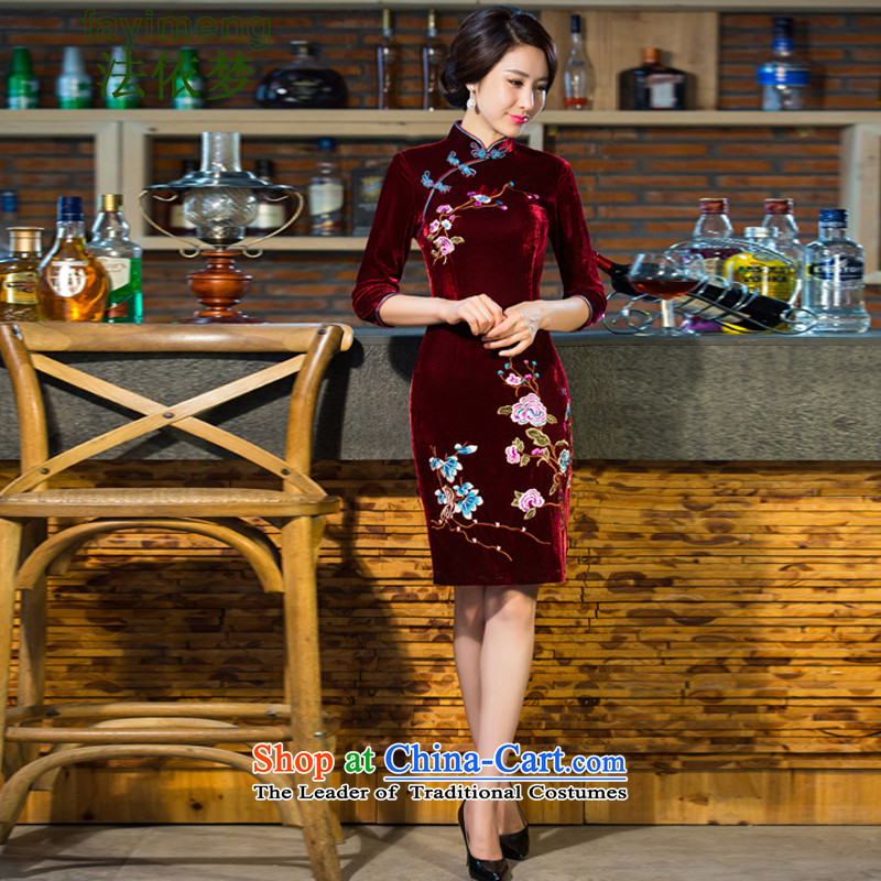 In accordance with the law of 2015 new republic of korea arts wind, Sau San qipao improved Tang dynasty dresses dresses Lady) XXXL wine red