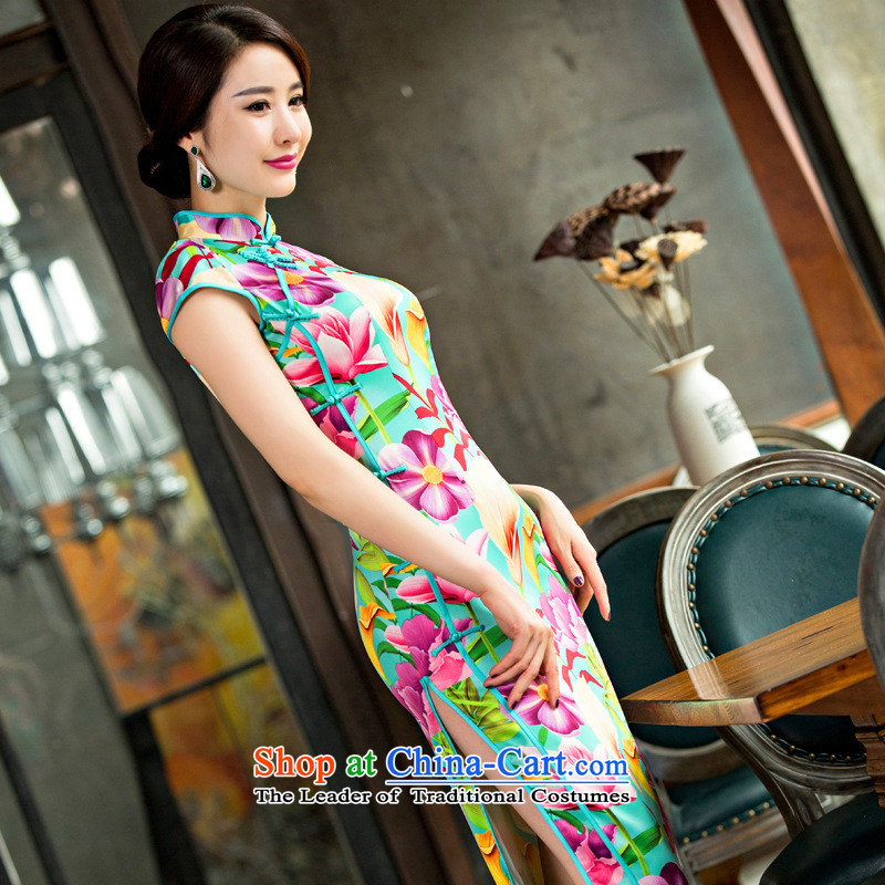 And involved daily qipao Summer 2015 new long high on the forklift truck and sexy female graphics cheongsam dress thin Silk Cheongsam Template Characteristics聽XL Performance