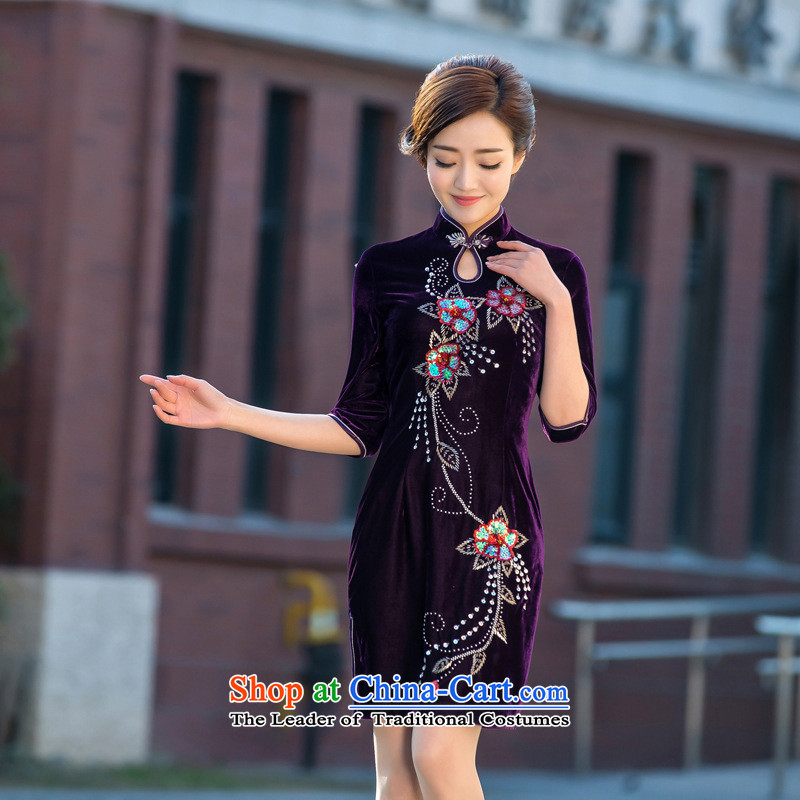 The new 2015 involved and wool short-sleeved daily manual qipao retro short, thin embroidery qipao Sau San video dresses figure?XL