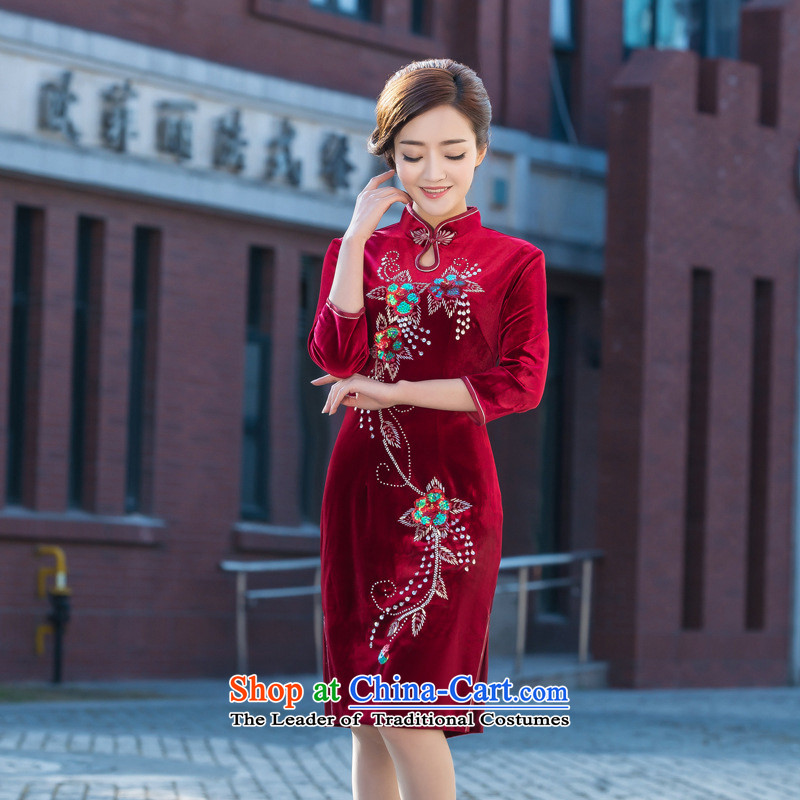 And involved new qipao daily spring and summer new cheongsam qipao banquet with velvet embroidery retro improved short of Qipao RED�M