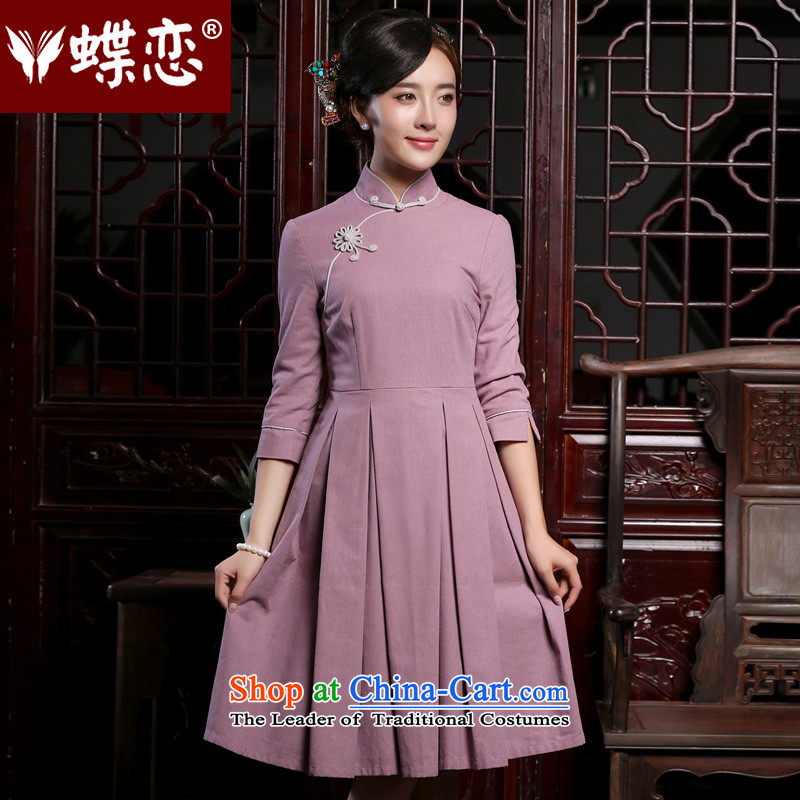 Butterfly Lovers 2015 Autumn New) cotton robes of nostalgia for the improvement of the seven cuff Sau San cheongsam dress purple�L