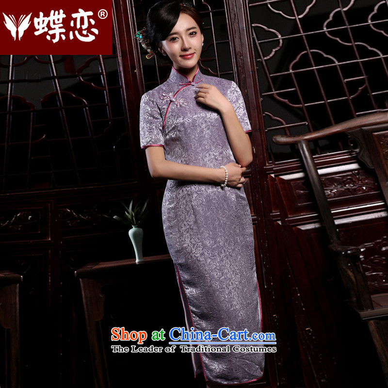 Butterfly Lovers 2015 Autumn new stylish improvement of qipao dresses retro short-sleeved long Silk Cheongsam figure - pre-sale 5 days�XXL