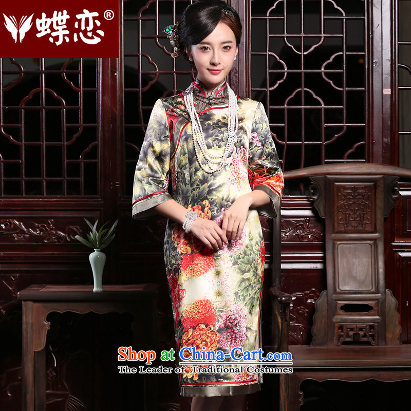 Butterfly Lovers autumn 2015 installed new 2 side of the retro long cheongsam dress improved stylish Silk Cheongsam figure - pre-sale 5 days?L