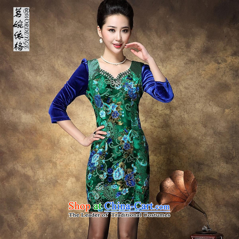 The autumn's new-hwan larger female larger stores scouring pads long-sleeved dresses picture color?XXL