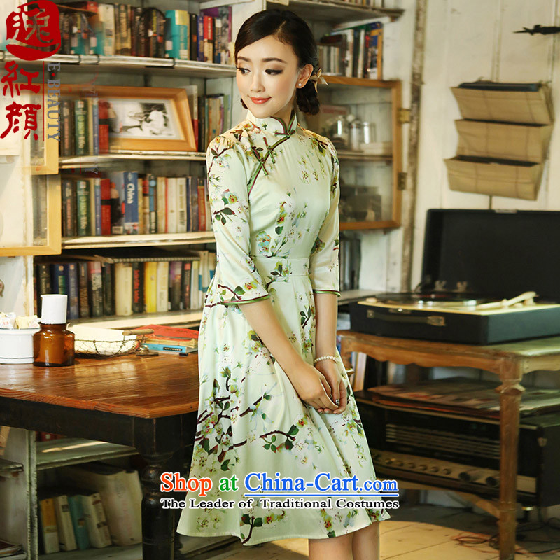 A Pinwheel Without Wind silk Overgrown Tomb Autumn Yat replacing dresses 2015 new retro ethnic stamp cheongsam dress lush�XL