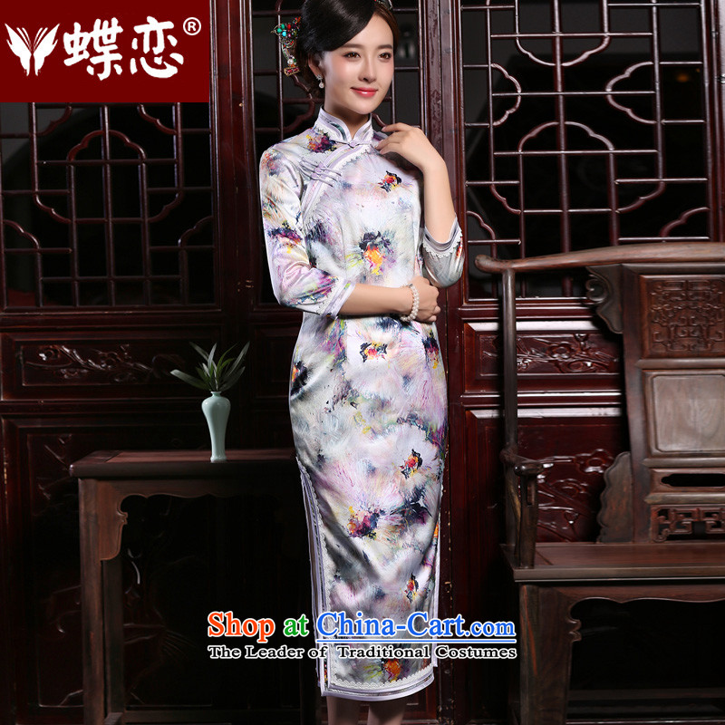 Butterfly Lovers 2015 Autumn new retro 7 cuff, improved stylish herbs extract silk cheongsam dress daily figure - 10 days pre-sale?L