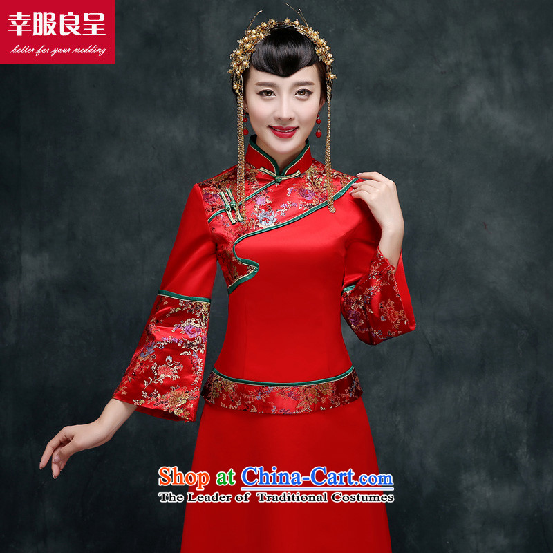 Red-soo Wo Service cheongsam dress bride wedding dress of autumn and winter Chinese Wedding dress-soo Fashion improved bows services kimono Sau Wo聽3XL services