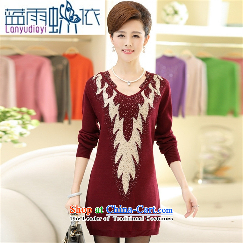 * Store and involved the autumn and winter new stamp diamond in older kit and dresses in long sweater Sau San wild long-sleeved mother load wine red?110