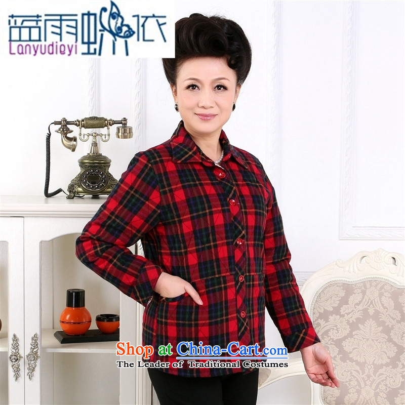 _ Store and involving the Korean version of autumn and winter new cotton shirt that older long sleeved shirt with cotton shirt mother grid loading Factory green tartan?XL
