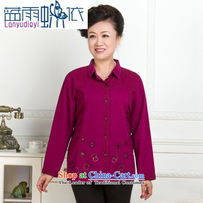 * Store and involving older women's long-sleeved T-shirt new spring and autumn to increase women's shirt Korea embroidery version installed in the mother red?XXL